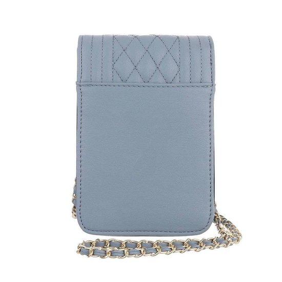 Trendy zeer klein blauw schoudertasje.