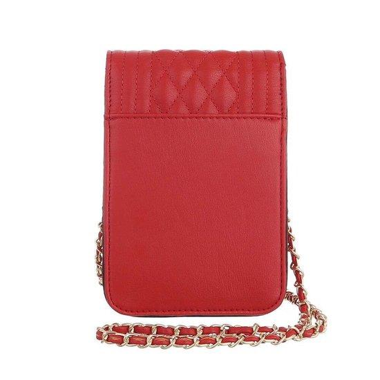 Trendy zeer klein rood schoudertasje.