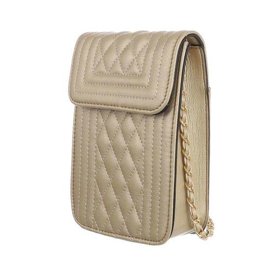 Trendy zeer klein gouden schoudertasje.