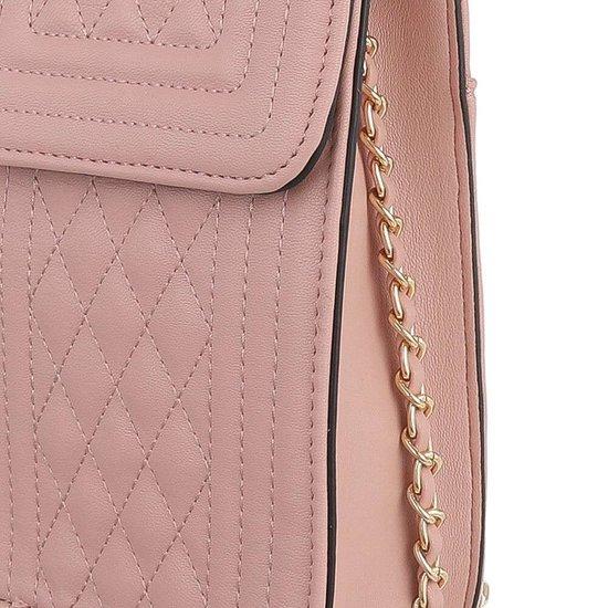 Trendy zeer klein rose schoudertasje.