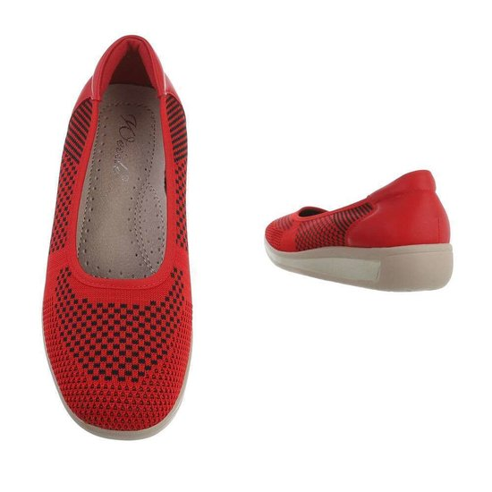 Rode textiel loafer Perry.