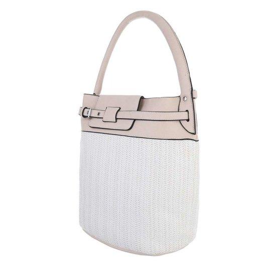 Wit-beige schouder-handtas.