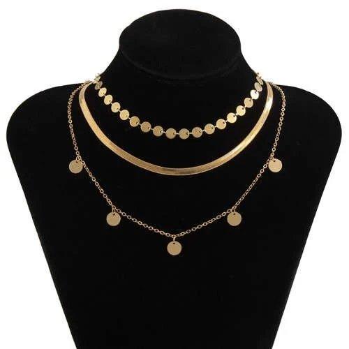 Trendy 3 lagige gouden halsketting.