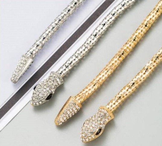 Gouden-multicolour halsketting in slangenvorm design.