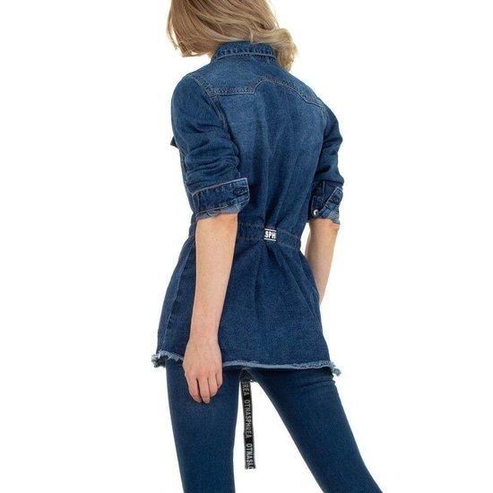 Midi jas in denim-jeans