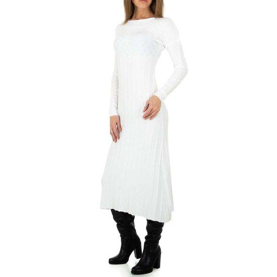 Elegante witte truijurk in plissé.