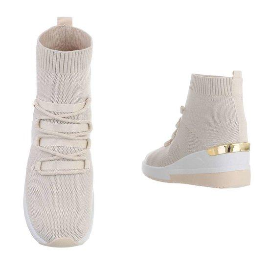 Trendy hoge beige sock sneaker Verda.