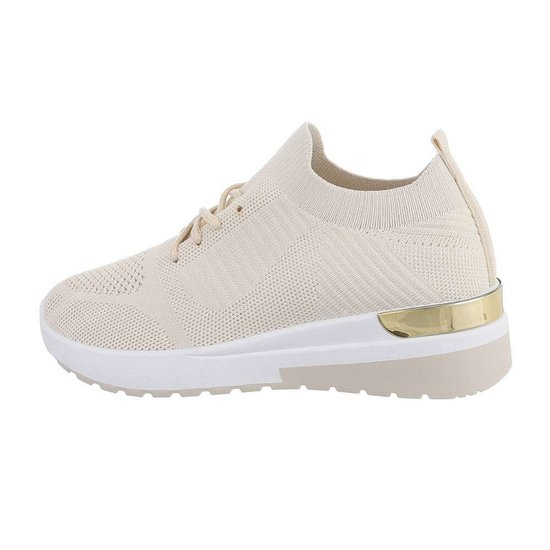 Trendy lage beige sock sneaker Pepa.