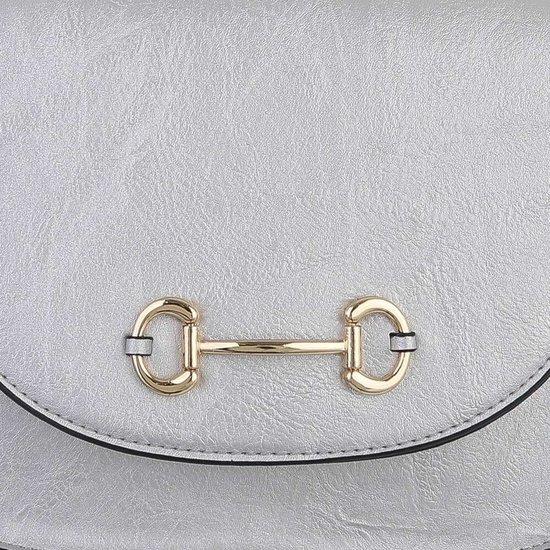 Casual kleine zilveren schoudertas.