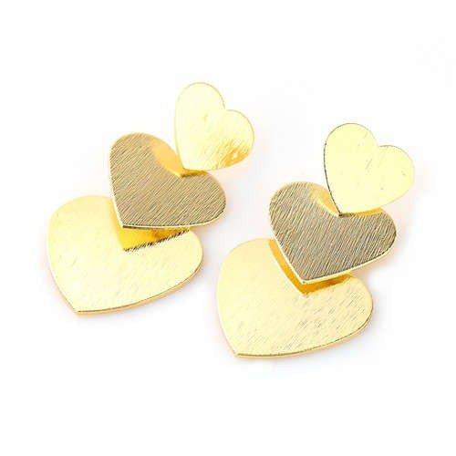 Oorbellen tripple gouden harten.
