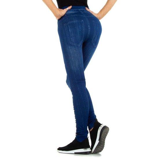 Blauwe-beige legging in jeans destroyed look.