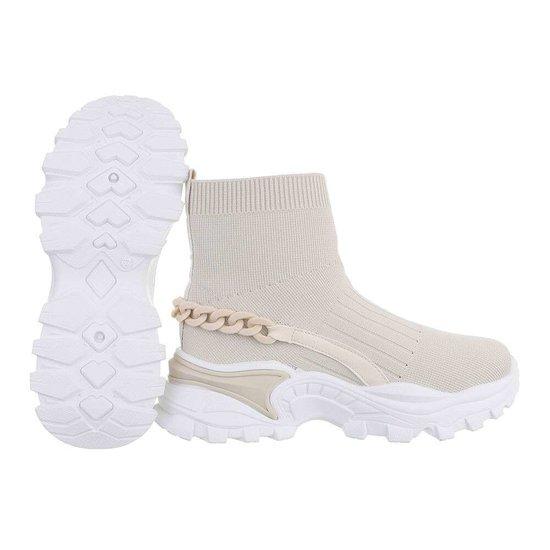 Trendy hoge beige sock sneaker Jenara.