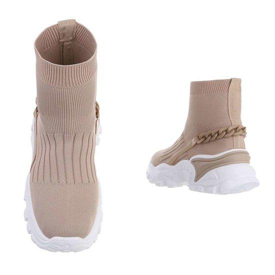 Trendy hoge kaki sock sneaker Jenara.