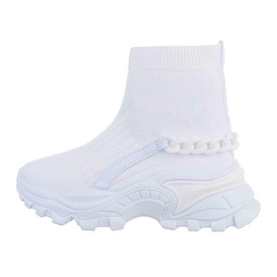 Trendy hoge witte sock sneaker Jenara.