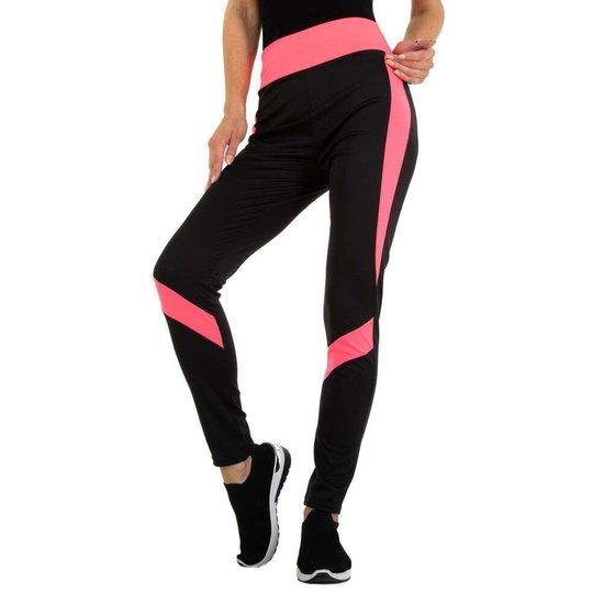 Sportieve zwarte legging met rose lijnenspel.