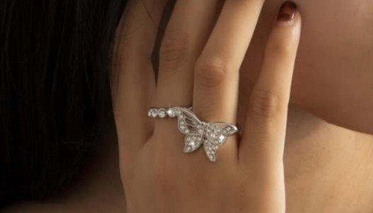 2 delige zilveren vlinder ringenset.