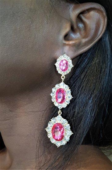 Vintage tripple rose oorbellen.