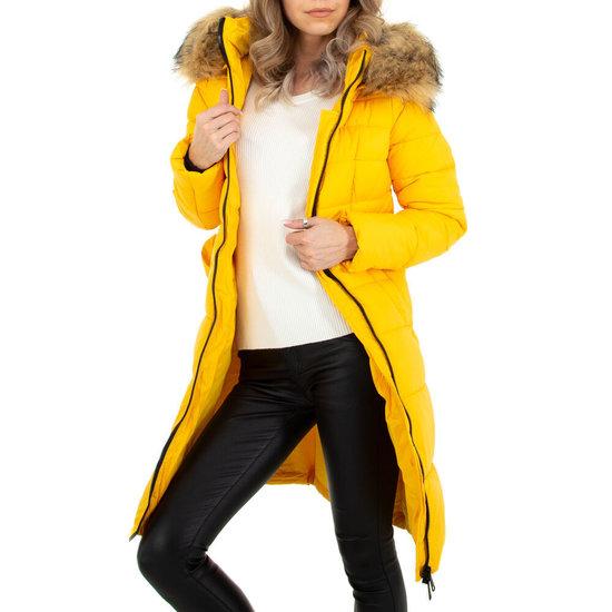 Kanarie gele driekwart gewatteerde winterjas