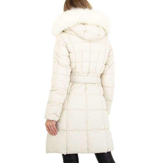 Witte driekwart gewatteerde winterjas