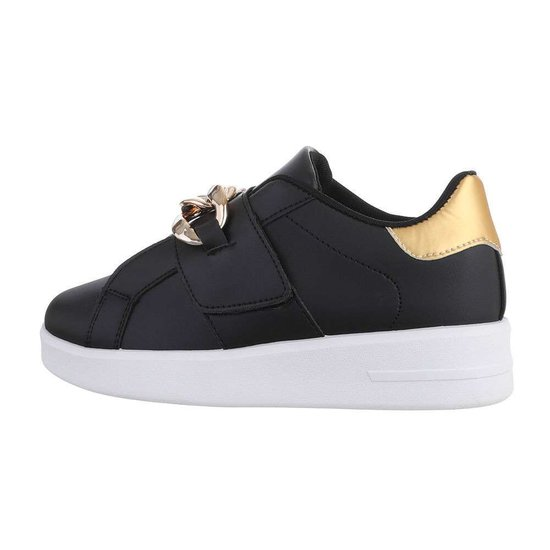Zwart-gouden lage sneaker Miko.