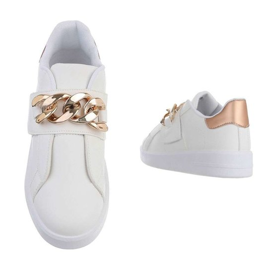 Wit-champagne lage sneaker Miko.