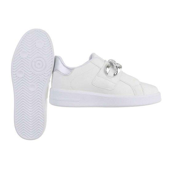 Wit-zilveren lage sneaker Miko.