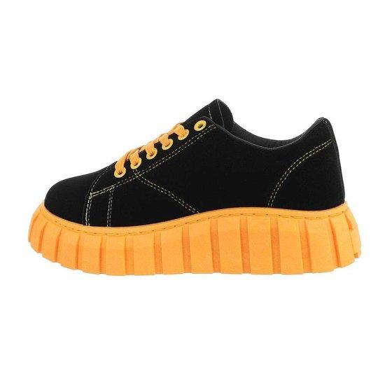 Zwart-gele lage textiel sneaker Miche.