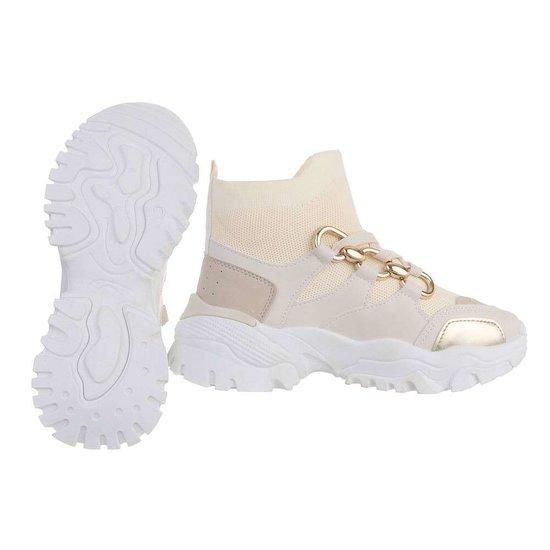 Trendy hoge beige sock sneaker Belicia.