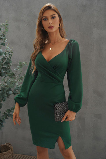 Trendy groene midi bodycon jurk.