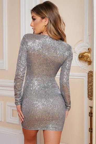 Zilver-grijze adjustable sequins mini jurk.