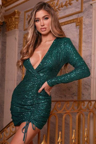 Groene adjustable sequins mini jurk.