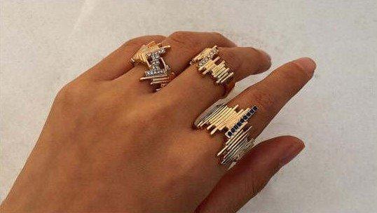 3 delige street fashion gouden ringenset.