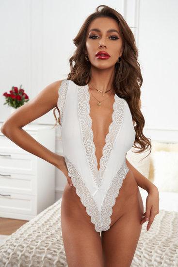 Witte bodysuit met diepe V-neck.