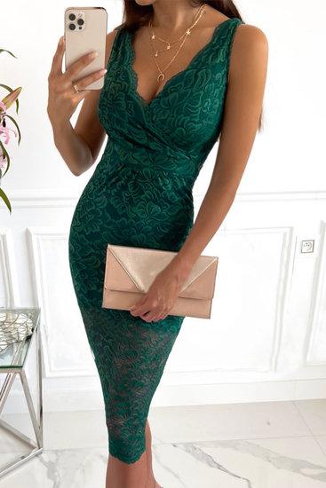 Elegante kanten groene midi jurk.