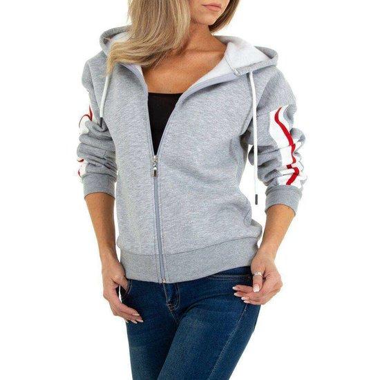 Sportieve grijze sweater met contrast kleurige band.