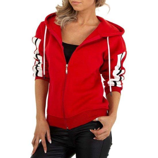 Sportieve rode sweater met contrast kleurige band.