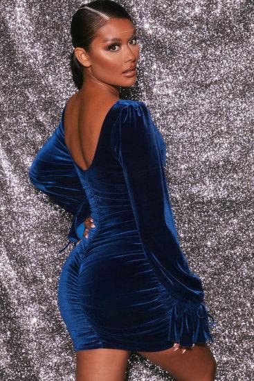 Blauwe mini velvet jurk.