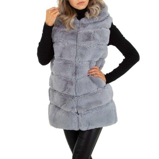 Winterse grijze bodywarmer.