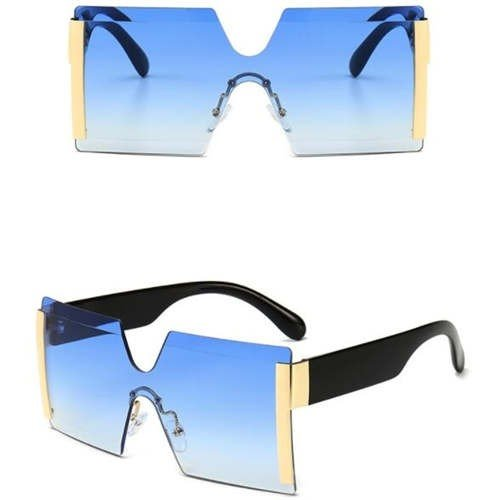 Fashion blauwe frameless zonnebril.