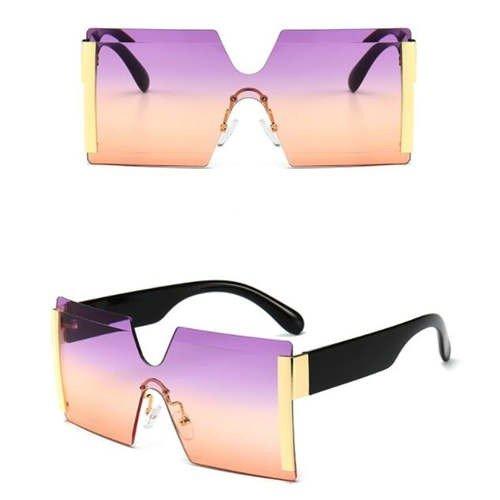 Fashion purper-oranje frameless zonnebril.