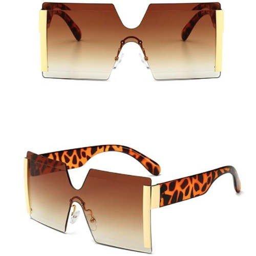 Fashion bruine frameless zonnebril.