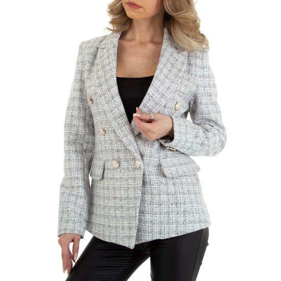 Wit-grijze blazer in tweedstof.