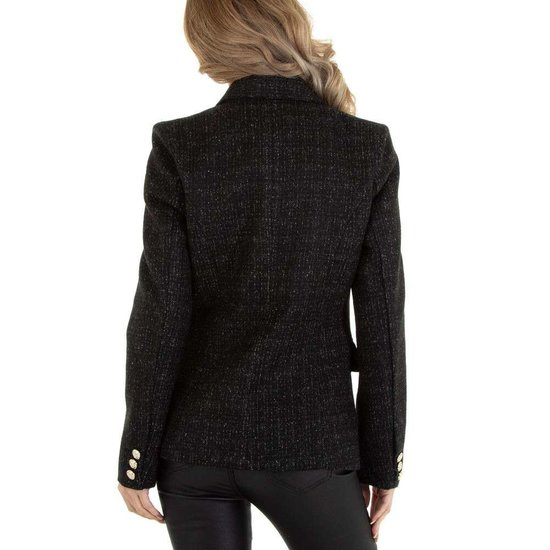 Zwarte blazer in tweedstof.