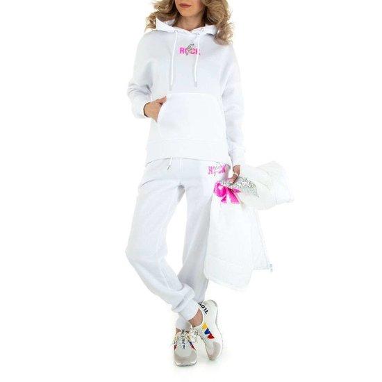 Sportieve 3 delige witte loungewear set.