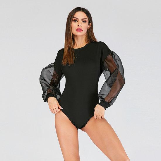 Elegante body top met mouwen van voile.