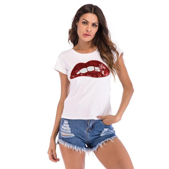 Fashion t-shirt met sequins.