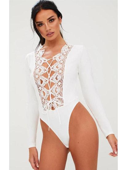 Sexy body top met patchwork van kant.