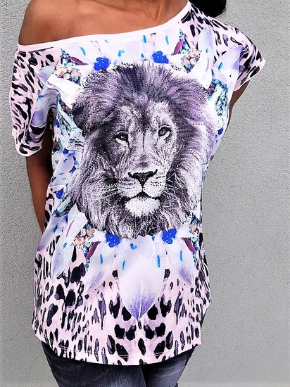 Fashion t-shirt/top met leeuwenkop.