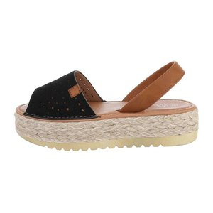 Trendy zwarte platform sandaal Herma.
