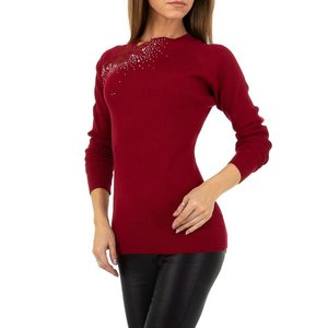 Trendy bordeaux pullover met strass.